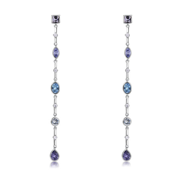 Long brass earrings with white PVD, smoky mauve, Provence lavender, aquamarine, light azore, tanzanite Swarovski® crystals and white zircons.