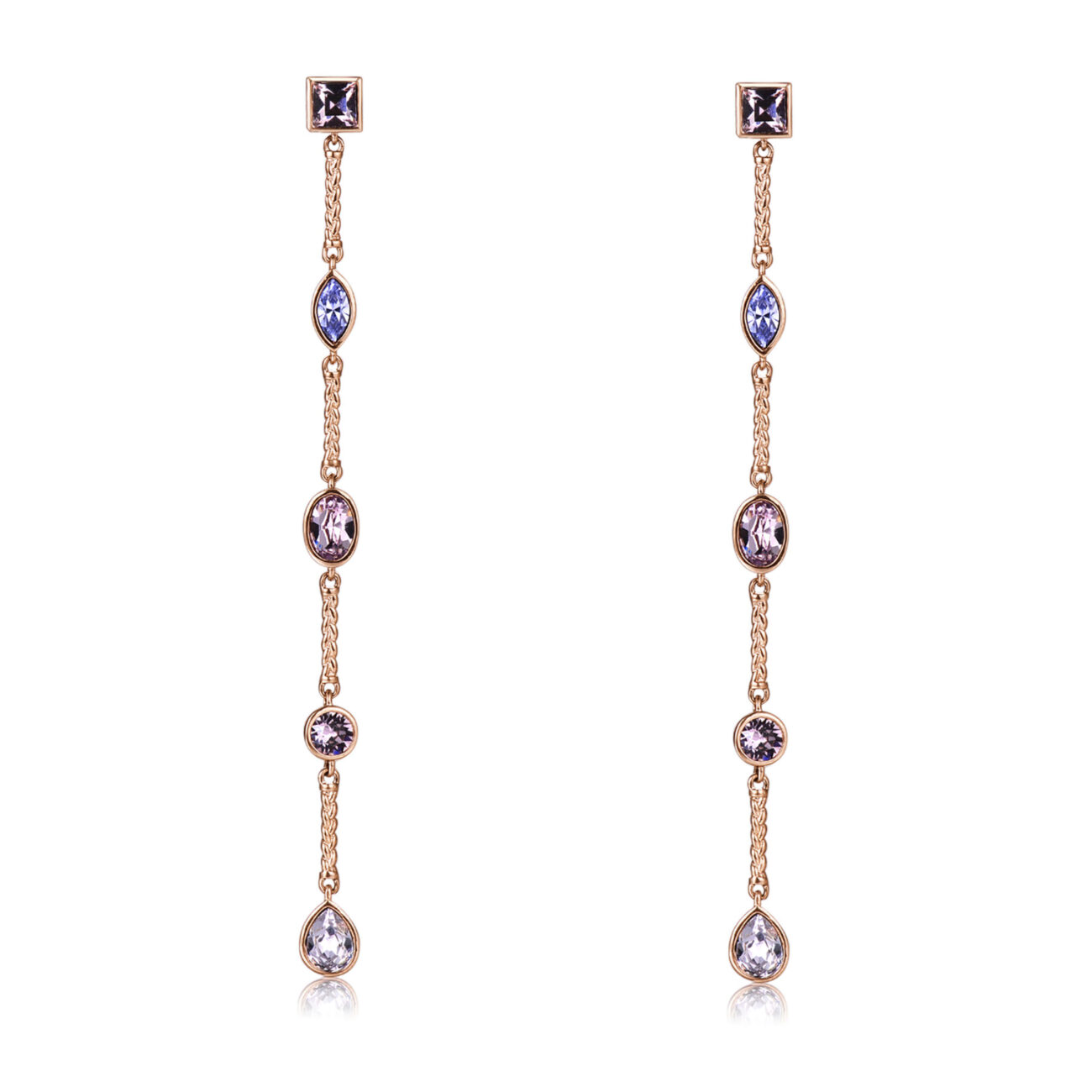 Long brass earrings with rose gold PVD, Provence lavender, light amethyst, crystal antique pink and smoky mauve Swarovski® crystals.