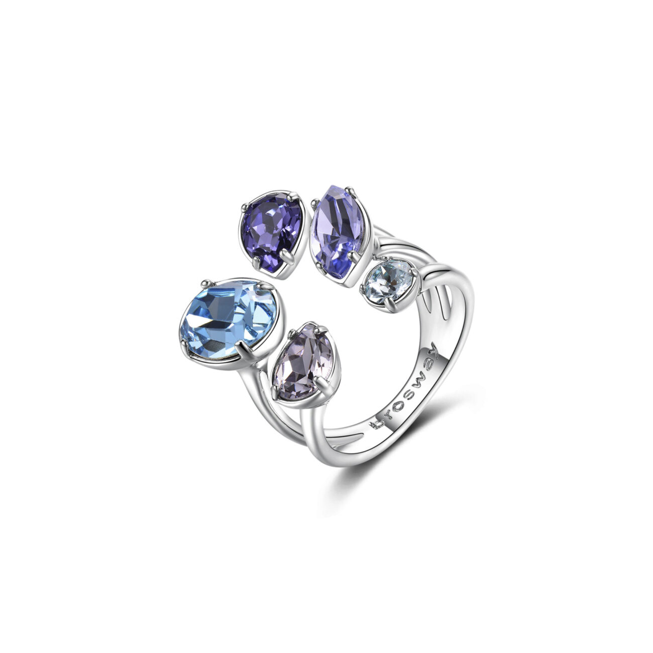 Bass rhodium ring, with colored Swarovski® Elements crystals.