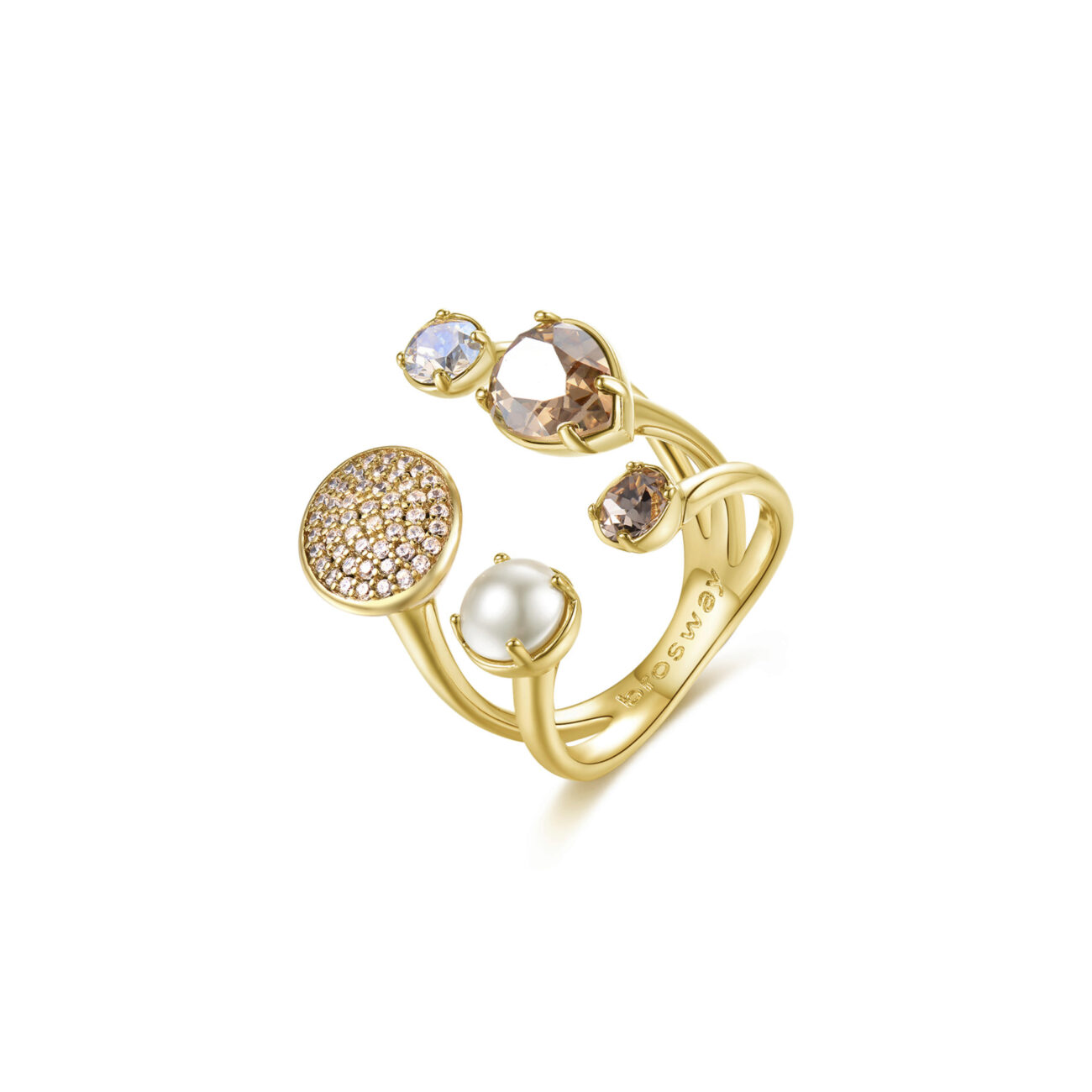 Brass ring, rose gold pvd with pearl, zircons and colored Swarovski® Elements crystals.