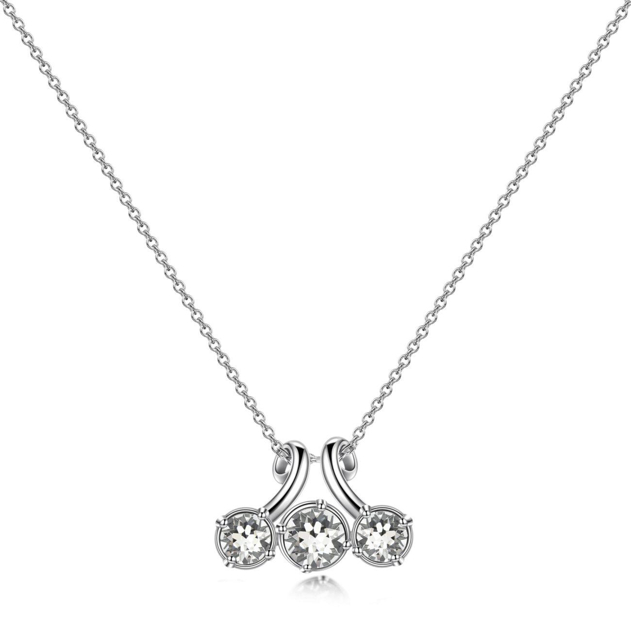 Rhodiated brass necklace and white Swarovski©crystals