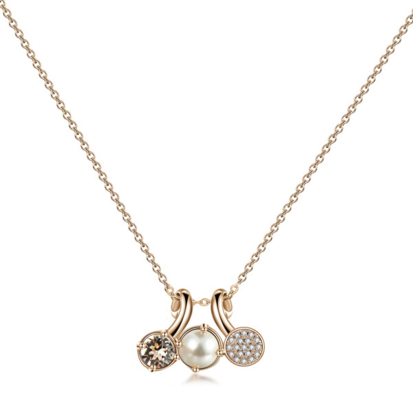 Brass necklace, rose gold galvanic, golden Swarovski©crystals, pearl and white zircons