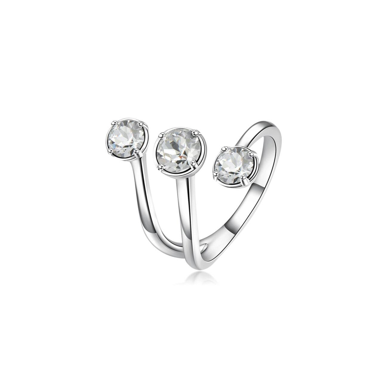 Rhodiated brass ring and white Swarovski©crystals