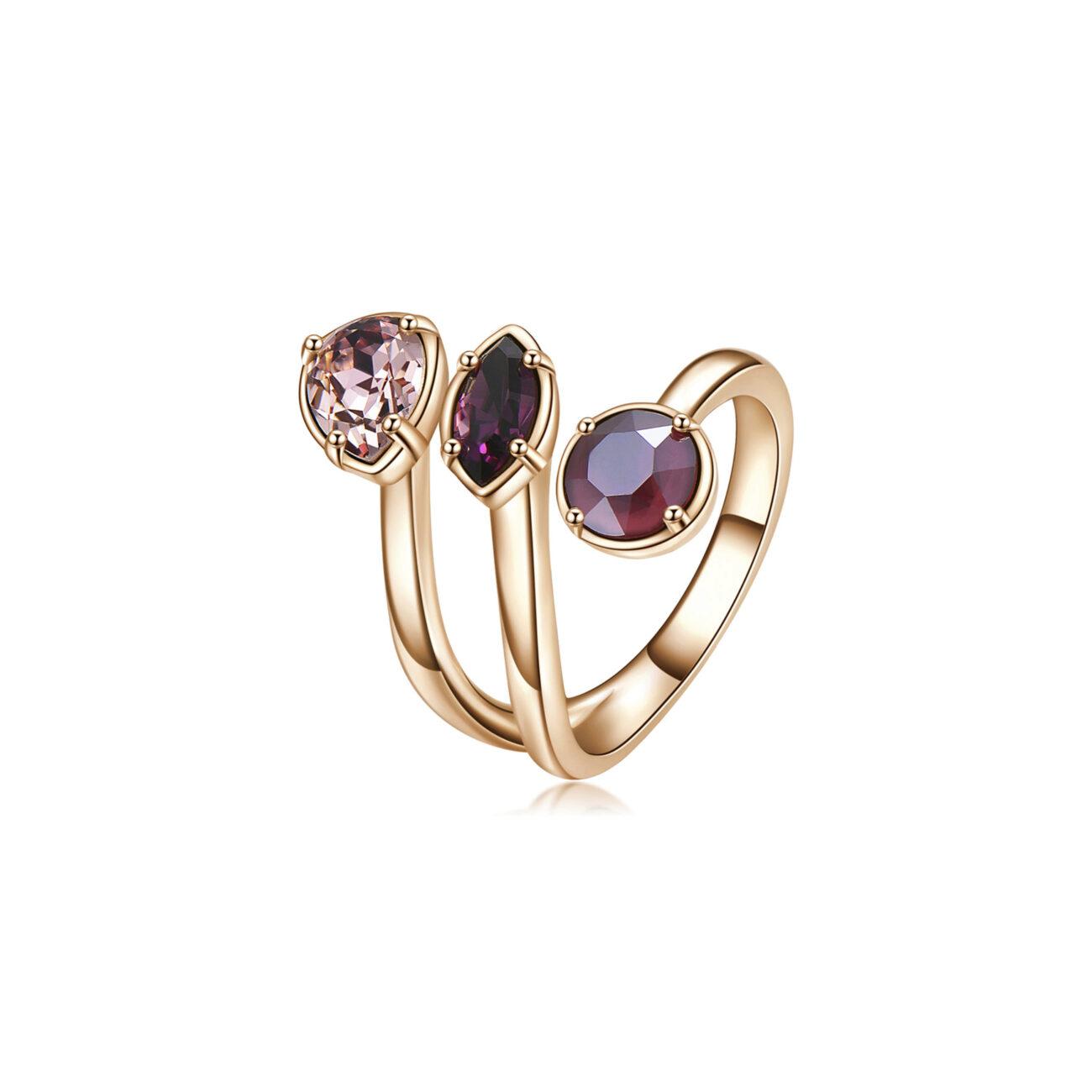 Brass ring, rose gold galvanic and antique pink, amethyst, dark red Swarovski©crystals