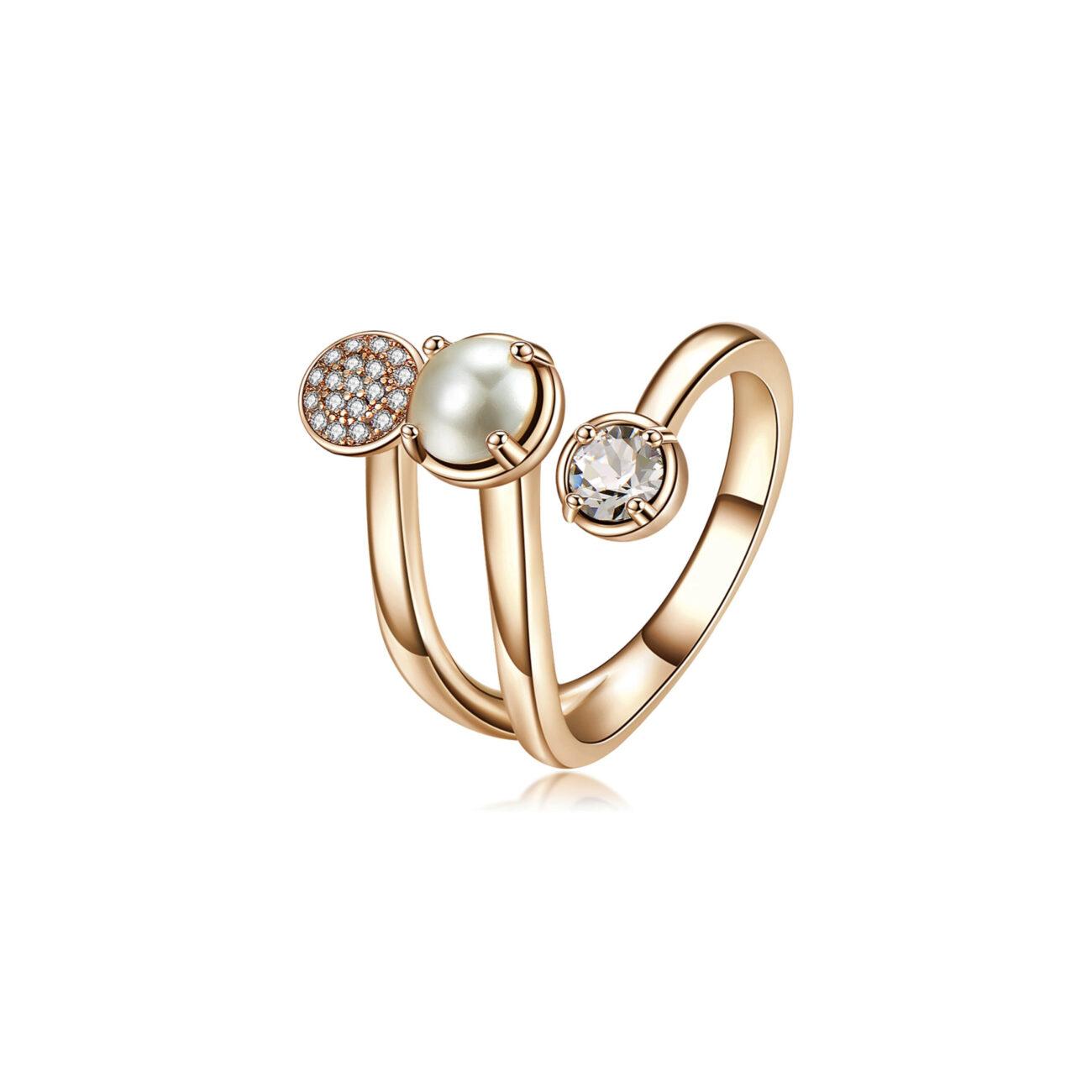 Brass ring, rose gold galvanic, golden Swarovski©crystals, pearl and white zircons