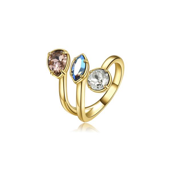 Brass ring, gold galvanic, vintange rose, light sapphire shimmer, light silk Swarovski©crystals