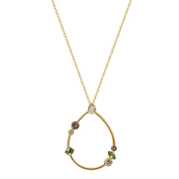 316L rhodiated brass necklace, gold galvanic and Swarovski©crystals.