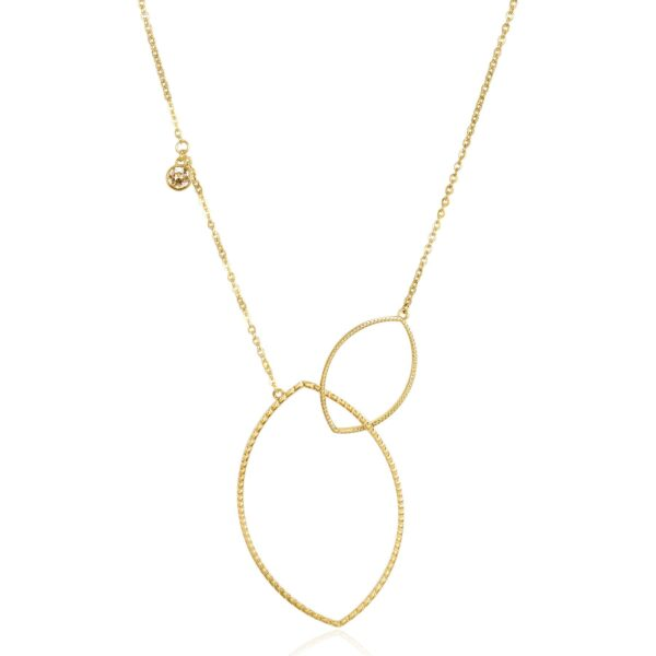 316L stainless steel long necklace and gold finishes with golden shadow Swarovski crystals.