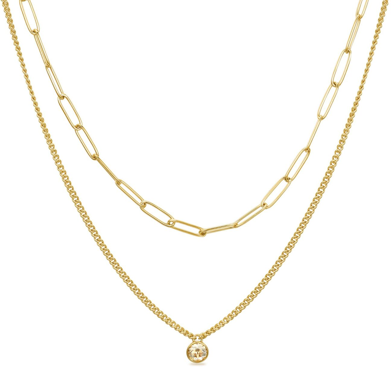 316L stainless steel double necklace, gold finishes with golden shadow Swarovski crystals.