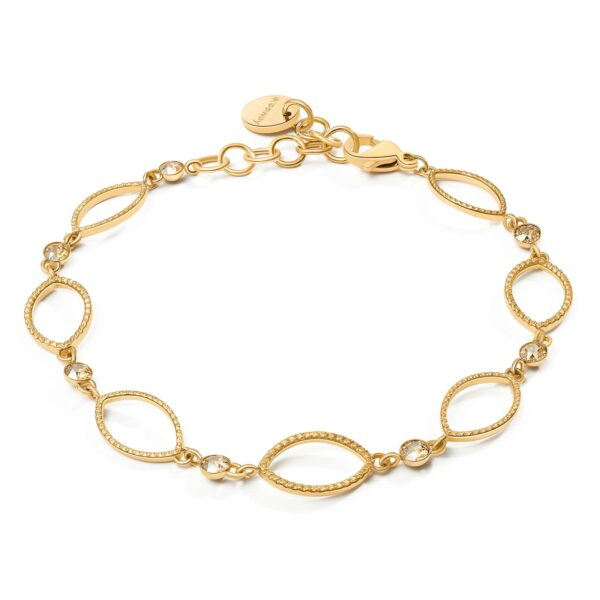 316L stainless steel bracelet and gold finishes with golden shadow Swarovski crystals.
