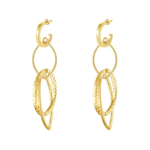 316L stainless steel pendant earrings, gold finishes with golden shadow Swarovski crystals.