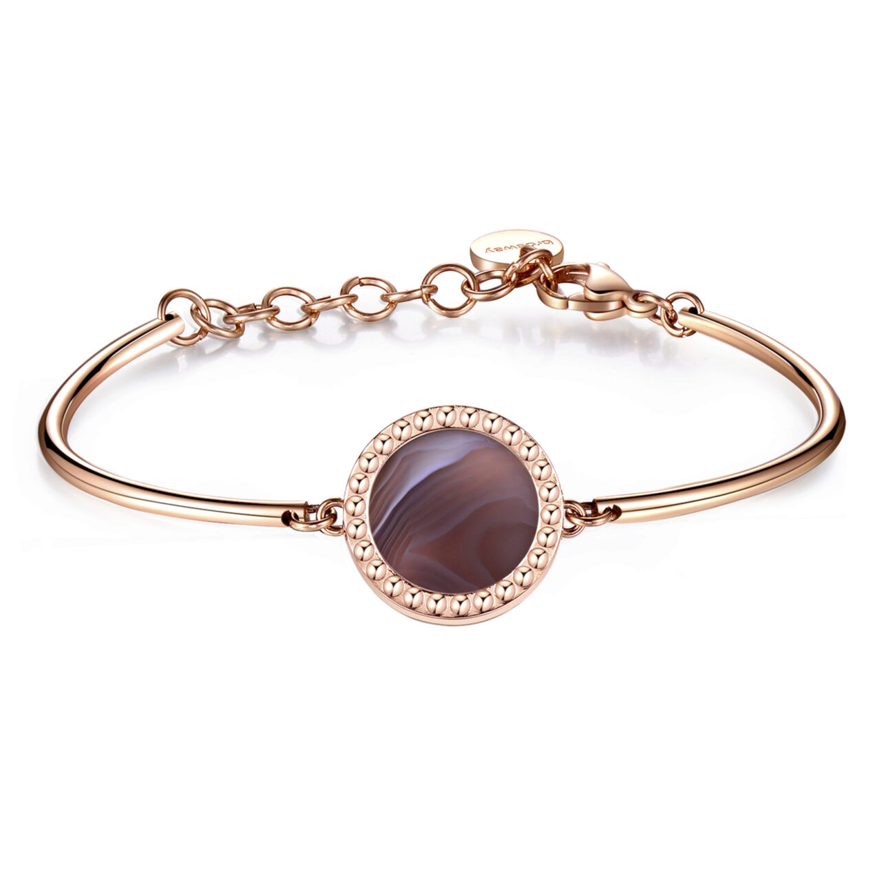 CREATIVITY, ENERGY, INTUITIONThis marvellous mineral retains sunlight and then emits its energy. A stone that enhances creativity and boosts intuitive powers. 316L Stainless steel bracelet, rose gold PVD with Botswana agate disc.