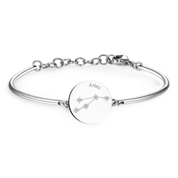ARIES: ENERGETIC, BRAVE, CURIOUSImpulsive, loyal and brave, Arians have a strong spirit of adventure and initiative. Competitive, but extremely honest and attentive to the needs of others. Passionate, curious and particularly generous, especially at a sentimental level.316L Stainless steel bracelet with engraved zodiac sign disc and Swarovski® Elements crystals.