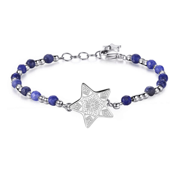 STAR: HOPE, DESIRE, MAGICStars are the quintessential symbol of positive hope. They light up the night creating a magical atmosphere, making our dreams and wishes come true. 316L stainless steel star-shaped bracelet with sodalite.