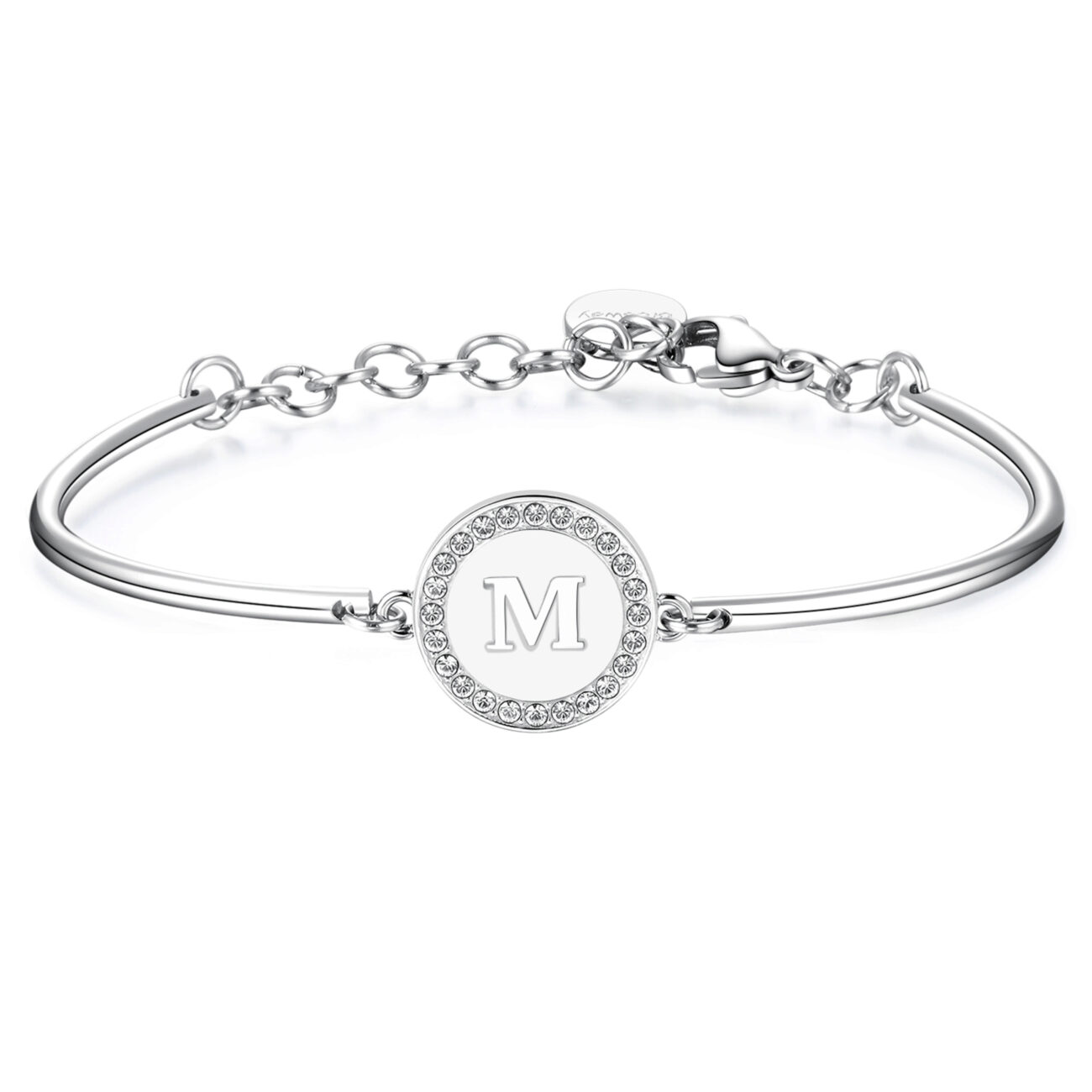 LETTER M: OPTIMISM, LOVE, ADAPTABILITYThose whose name starts with the letter 'M' are optimistic and cheerful. Ms live their lives to the fullest, making of love their lifeblood. They are individuals who can adapt to new situations in life.316L Stainless steel bracelet and Swarovski® Elements crystal with engraved disc.