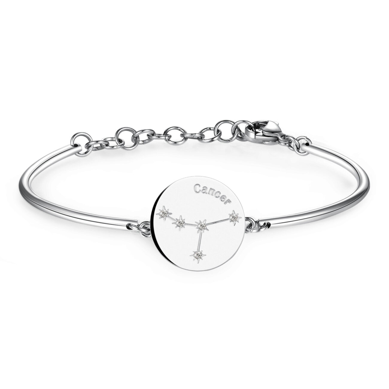 CANCER: EMOTIONAL, CREATIVE, KINDEmotional and creative, Cancers are looking for security and family. Loyal and kind, they keep their sources of happiness close at hand. Dreamy and romantic, feelings and emotional ties are at the heart of their world.316L Stainless steel bracelet with engraved zodiac sign disc and Swarovski® Elements crystals.