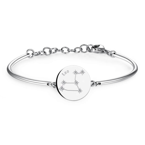 LEO: GENEROUS, PROTECTIVE, ORGANISEDAmbitious and organised, Leos move through life with the self-confidence of born winners. Protective and generous, they're always available to help others out.316L Stainless steel bracelet with engraved zodiac sign disc and Swarovski® Elements crystals.