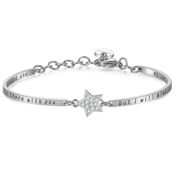 STARS: FRIENDSHIP, EMPATHY, HAPPINESSENGRAVED:I may not always be there with you but i will always be there for you (front) - Non potrò essere sempre con te, ma ci sarò sempre per te (back)They understand without you saying a word, are always on your side and make you laugh even when you don't want to. True friends shine like the stars.316L stainless steel bracelet with central star and Swarovski® Elements crystals.