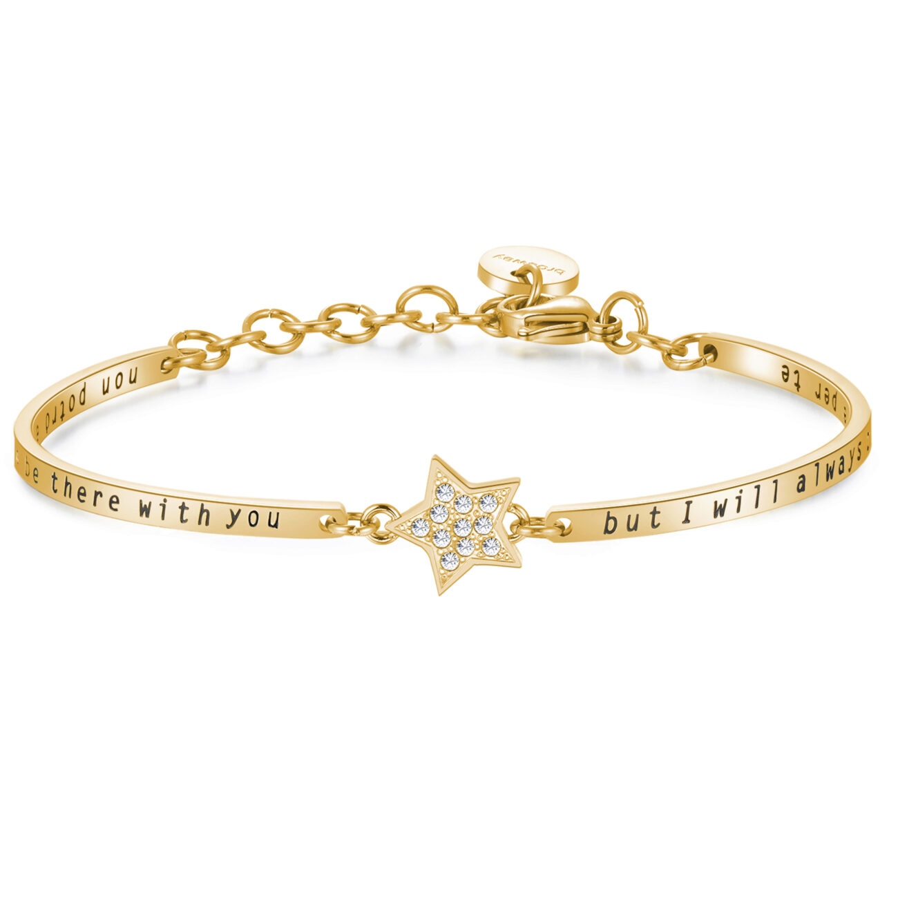 STARS: FRIENDSHIP, EMPATHY, HAPPINESSENGRAVED:I may not always be there with you but i will always be there for you (front) - Non potrò essere sempre con te, ma ci sarò sempre per te (back)They understand without you saying a word, are always on your side and make you laugh even when you don't want to. True friends shine like the stars.316L stainless steel bracelet with central star, gold PVD and Swarovski® Elements crystals.