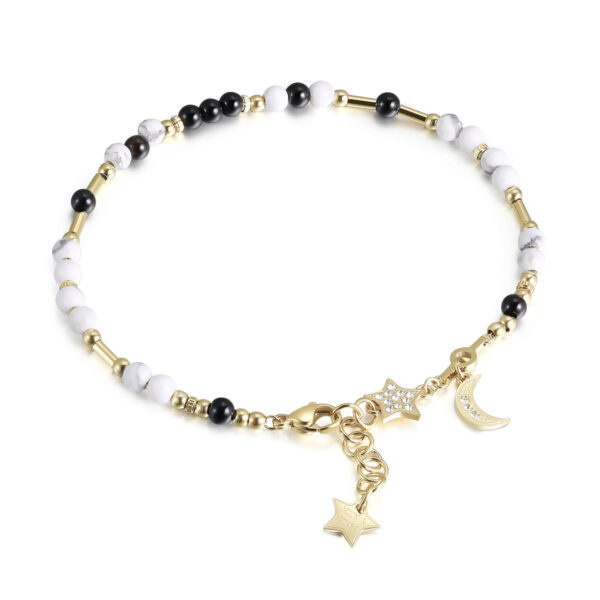 316L stainless steel anklet, gold pvd, howlite, black onyx with star and moon charm with Swarovski®crystals.