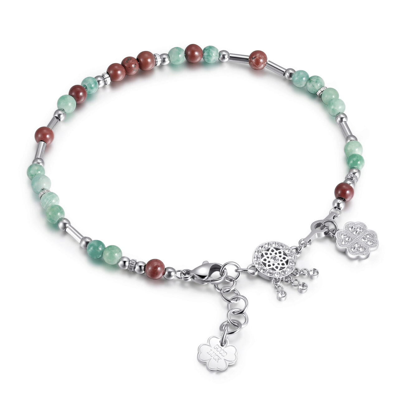 316L stainless steel anklet, amazonite, red jasper with dreamcatcher and four-leaf clover charm with Swarovski®crystals.