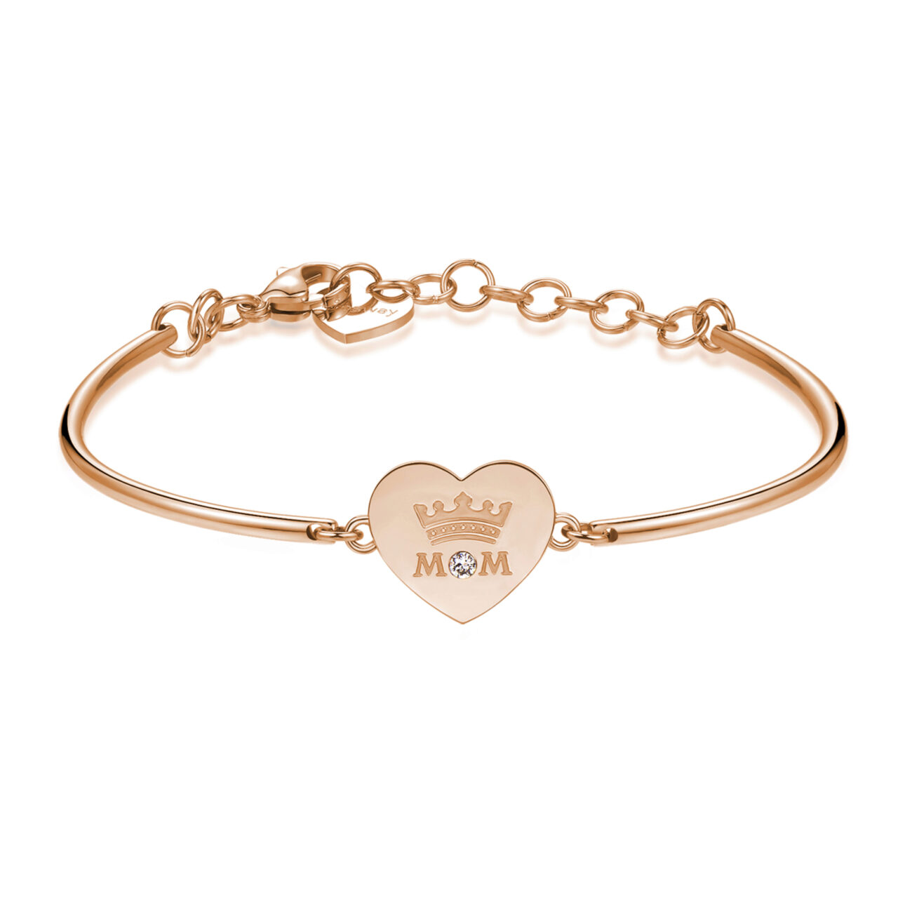 MOM: UNDERSTANDING, TENDERNESS, UNIQUENESSENGRAVINGS:Mom (front) - You are my Queen (back)The first, true, great, endless love is always and only for her—our mom. An unbreakable bond. Pure, unconditional and eternal love.316L stainless steel, rose gold PVD and Swarovski® crystal.
