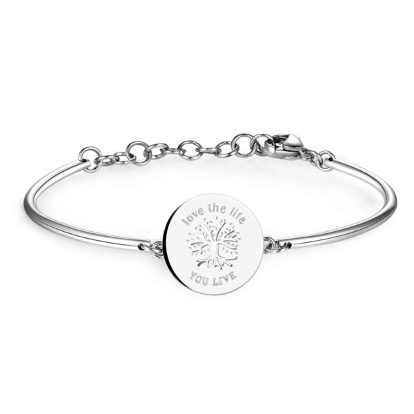 TREE OF LIFE: REFLECTION, ENERGY, GOOD OMENENGRAVED:Love the life you liveConsidered the source of all life, this is a positive symbol of multi-directional growth and creative energy, upwards with its branches and downwards with its roots, thus establishing a firm connection between Mother Earth and the universe.316 Stainless steel bracelet.