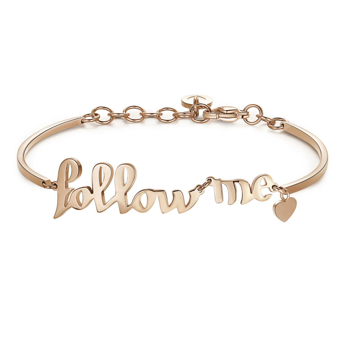 FOLLOW ME:FASHION, SHARING, ORIGINALITYFor you that you are always finding the perfect accessory and share it on socials, your secret is the originality, Your followers love you!316L stainless steel bracelet and rose gold pvd with Follow me lettering and heart.