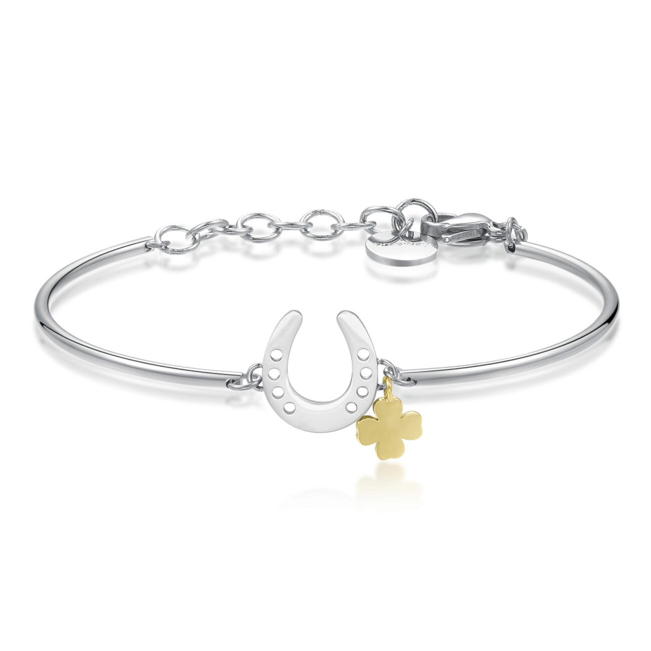 HORSESHOE: SUCCESS, GOOD FORTUNE, DESTINYA symbol of good fortune, it's the perfect good luck charm to see your hopes and dreams come true.316L Stainless steel bracelet with horsehoe and a gold pvd four-leaf clover.