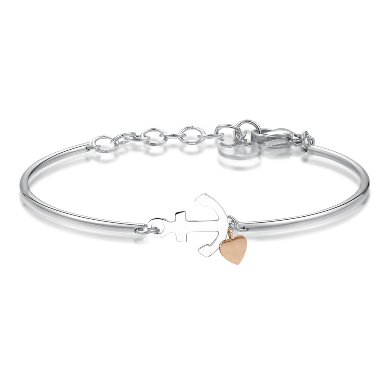 ANCHOR: SECURITY, HOPE, EQUILIBRIUMAn anchor symbolises the safety of Terra firma, holding firm to something that, by its very nature, is never at rest. It represents the hope of always finding a safe port in a storm.316L Stainless steel bracelet with anchor and a rose gold pvd heart.
