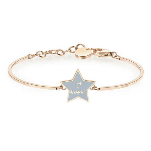STAR: HOPE, DESIRE, MAGICENGRAVING: I'm a dreamer (front)Stars are the quintessential symbol of positive hope. They light up the night creating a magical atmosphere, making our dreams and wishes come true.316L Stainless steel bracelet, rose gold pvd and turquoise enamel.
