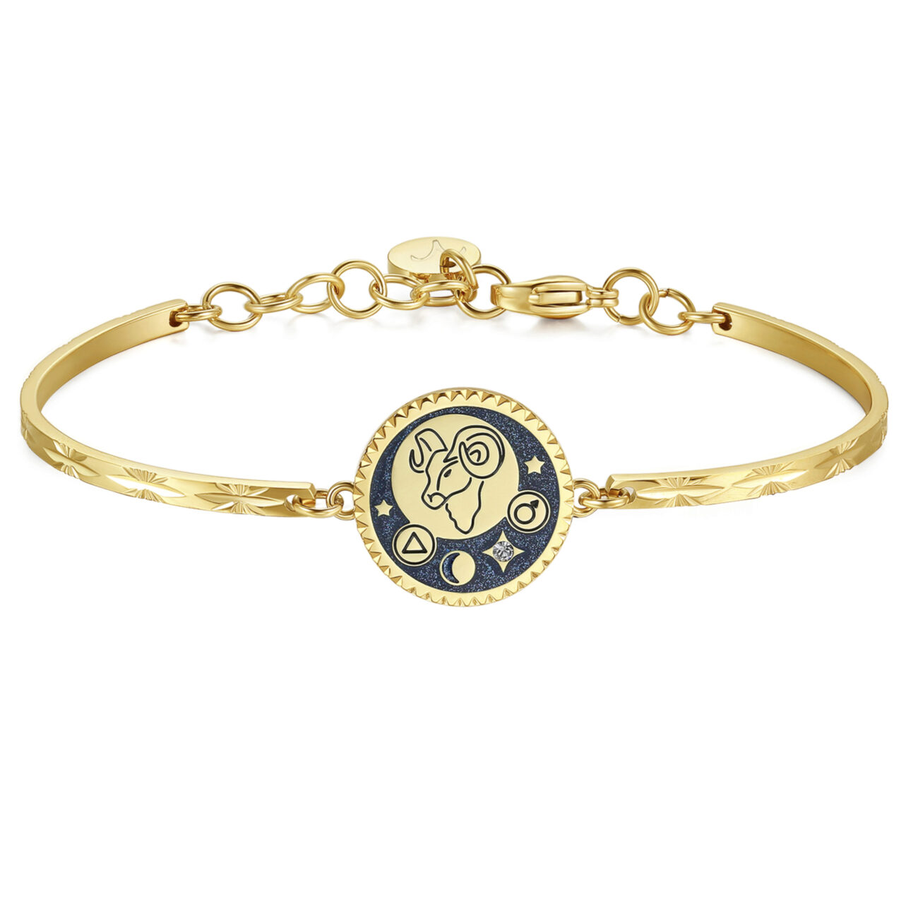 ARIES: ENERGETIC, BRAVE, CURIOUSENGRAVED:Aries dynamic brave curious (back)Impulsive, loyal and brave, Arians have a strong spirit of adventure and initiative. Competitive, but extremely honest and attentive to the needs of others. Passionate, curious and particularly generous, especially at a sentimental level.316L Stainless steel, gold pvd, blue enamel and Swarovski® crystals.