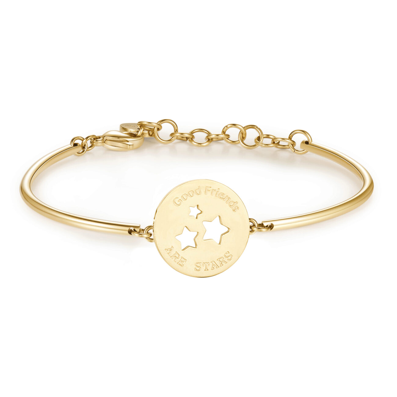 STARS: FRIENDSHIP, EMPATHY, HAPPINESSENGRAVED:Good friends are starsThey understand without you saying a word, are always on your side and make you laugh even when you don't want to. True friends shine like the stars.316L Stainless steel bracelet with gold PVD.
