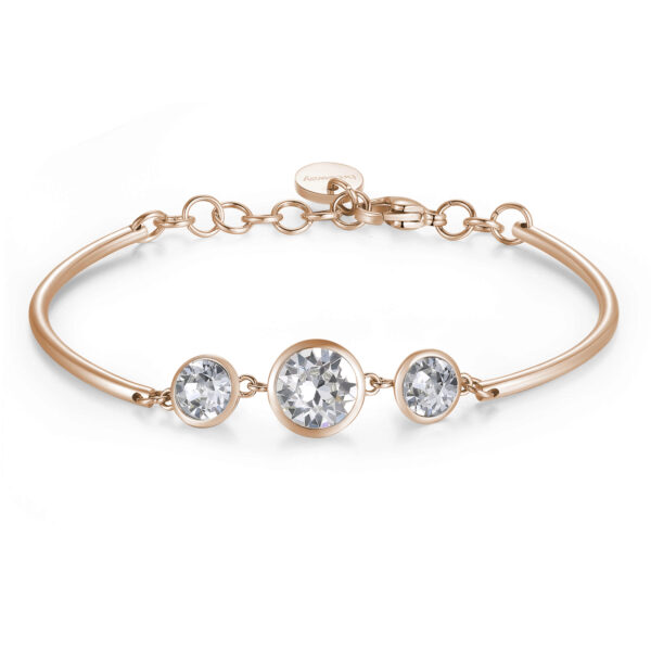 TRINITY CRYSTALS: CHANGE, NOVELTY, TRUSTThose who prefer White constantly crave change and are inspired by novelty in life. They place great trust in others and all that the future holds for them.316L stainless steel, rose gold PVD and Swarovski® crystals.
