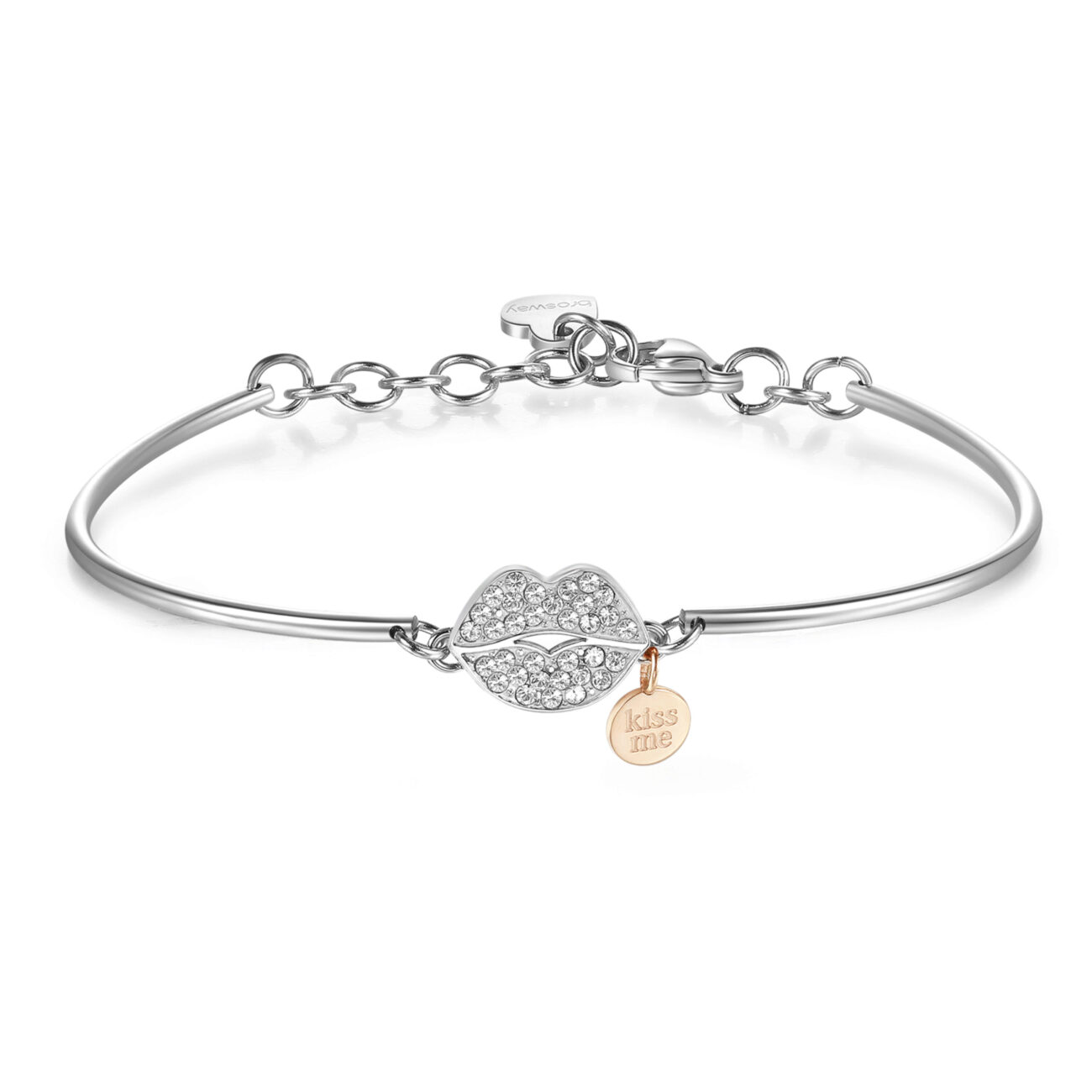 KISS: PASSION, INVOLVEMENT, FEELINGWhen you kiss someone you close your eyes because you know that in that moment all that matters is right there in front of you. A kiss and it's love from the start!316L stainless steel and Swarovski® crystals.