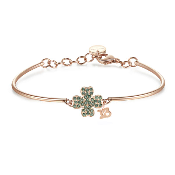 FOUR-LEAF CLOVER: WEALTH, FORTUNE, HEALTHThe four-leaf clover is considered a symbol of good luck for its rarity. According to Irish tradition, each leaf is associated with a meaning: Respect, Abundance, Love, Health.316L stainless steel, rose gold PVD and Swarovski® crystals.