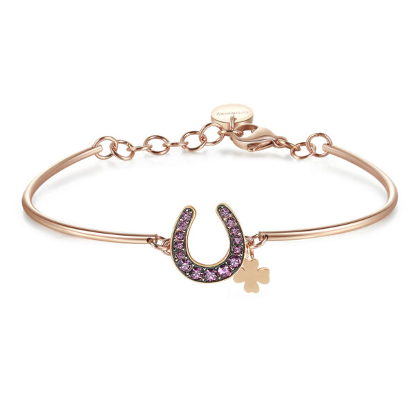 HORSESHOE: SUCCESS, GOOD LUCK, DESTINYA symbol of good luck, it is a perfect good luck charm to see dreams and aspirations come true.316L stainless steel, rose gold PVD and Swarovski® crystals.