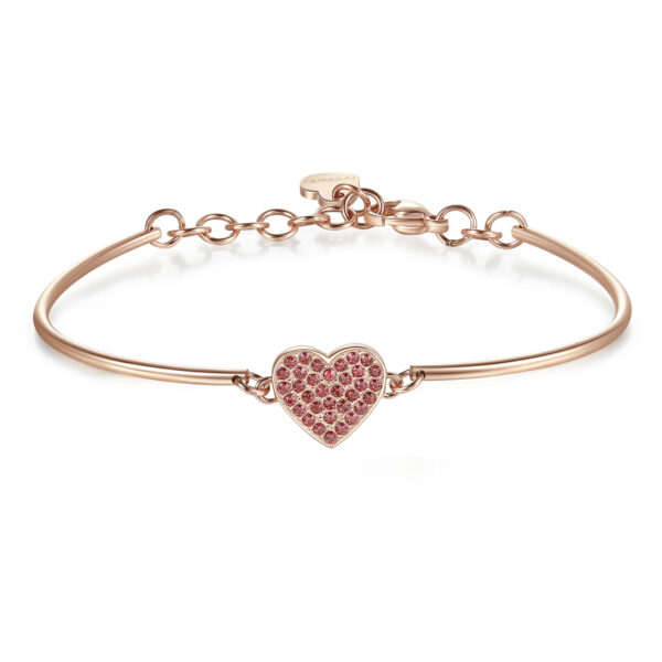 HEART PAVÉ: LOVE, OPTIMISM, FEELINGENGRAVED:Love(back)Suddenly you have become my obsession and love takes shape. To you, the one who brings out the best in me, to you, who are so special, I give my whole heart.316L stainless steel, rose gold PVD and Swarovski® crystals.