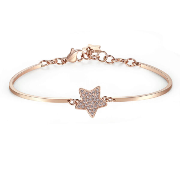 STAR PAVÉ: PROTECTION, GUIDANCE, BALANCEENGRAVED:Shine(back)Stars shine in their own light, illuminating the path. A symbol of protection and balance, helping you find your way in life.316L stainless steel, rose gold PVD and Swarovski® crystals.