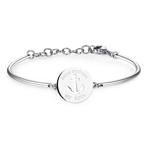 ANCHOR: SECURITY, HOPE, EQUILIBRIUMENGRAVED:Hope anchors my soulAn anchor symbolises the safety of terra firma, holding firm to something that, by its very nature, is never at rest. It represents the hope of always finding a safe port in a storm.316L Stainless steel bracelet.