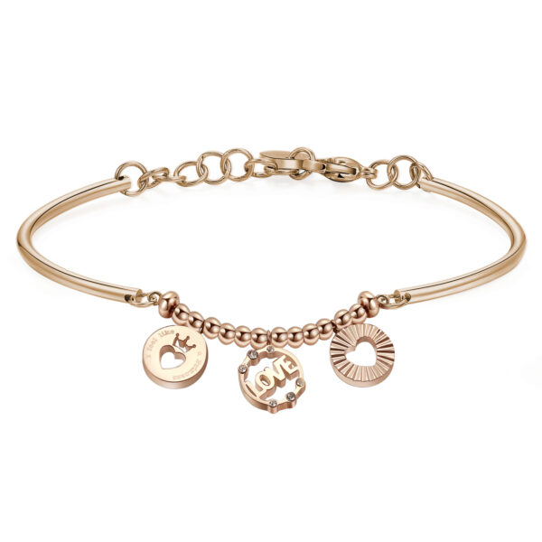 CROWN – LOVE – HEART: FAIRY TALE, EMOTIONS, ROMANTICISMENGRAVED:I feel like a princess (front)When I am with you I feel like a princess: our love is the perfect happy ending.316L stainless steel, rose gold PVD and Swarovski® crystal.