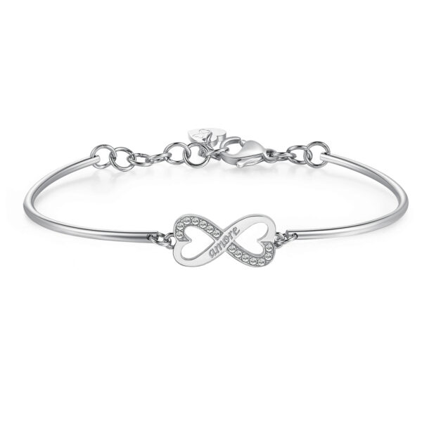 INFINITY: PASSION, MYSTERY, SENTIMENTENGRAVED:Amore (front) – Love (back)The infinity symbol represents a dynamic stimulus for the mind to act, seek answers and explore the unknown corners of reality. As a symbol of eternity it expresses a firm intent to dedicate your life to something or someone else.316L Stainless steel bracelet and Swarovski® crystal.
