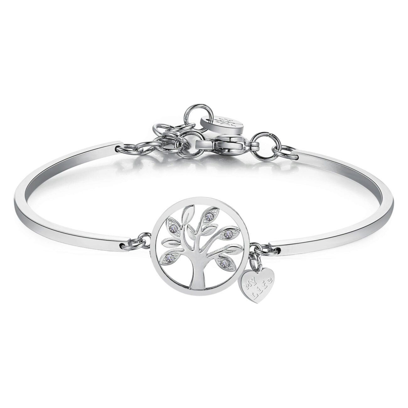TREE OF LIFE:CONSIDERATION, ENERGY, GOOD OMENConsidered as the source of life, it's a positive symbol of growth and creative energy in all directions, both upwards, with its branches, and downwards, with its roots, thus establishing a close link between Mother Earth and the universe.316L Stainless steel and Swarovski® crystals.