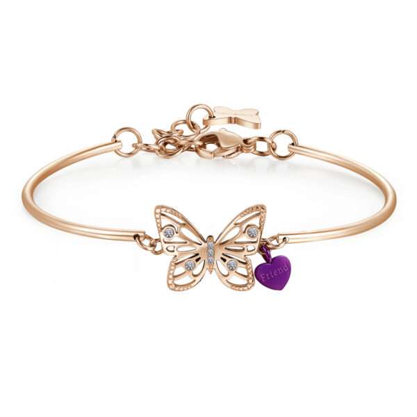 BUTTERFLY:CHANGING,REBIRTH,SERENITYThe simbology related to this wonderful insect refers to the idea of spiritual transformation and rebirth : the perfect lucky charm for those who are having a deep personal change to come out stronger and more calm.316L Stainless steel, rose gold pvd, purple enamel and Swarovski® crystals.