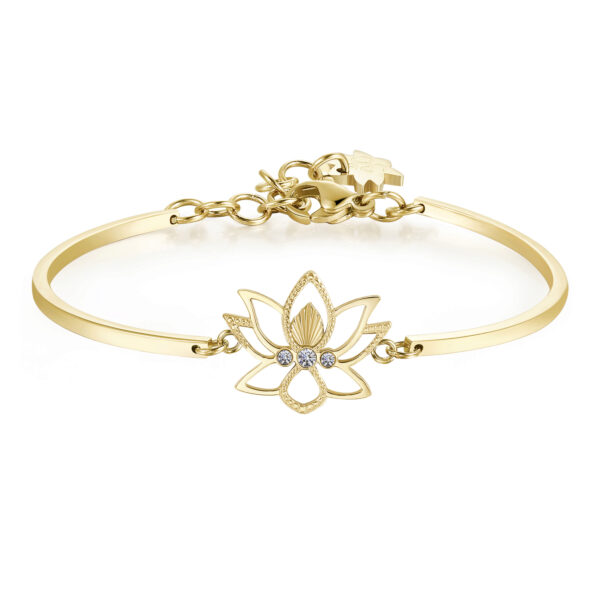 LOTUS FLOWER:REBIRTH, STRENGTH, BEAUTYThe lotus flower means new beginning, the end of an era and the rebirth, a redemption based on strength and perseverance. It is the symbol of elegance, beauty and purity.316L Stainless steel, gold pvd and Swarovski® crystals.