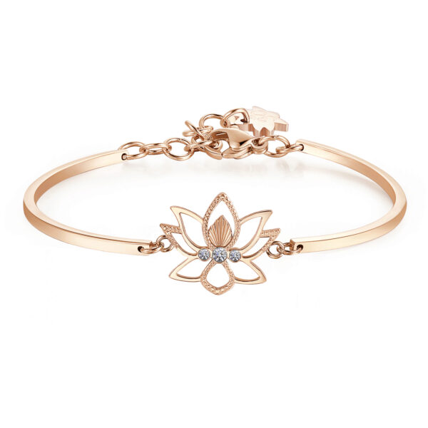 LOTUS FLOWER:REBIRTH, STRENGTH, BEAUTYThe lotus flower means new beginning, the end of an era and the rebirth, a redemption based on strength and perseverance. It is the symbol of elegance, beauty and purity.316L Stainless steel, rose gold pvd and Swarovski® crystals.