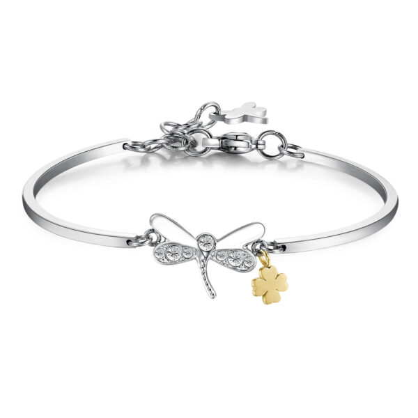 DRAGONFLY:FREEDOM,TRANSFORMATION, IDENTITYThe dragonfly, symbol of freedom and messanger of positivity, represents the transformation and the changing of life. It is important to go beyond appearances, the dragonfly encourages you to find your own identity and assert your personality316L Stainless steel, gold pvd and Swarovski® crystals.