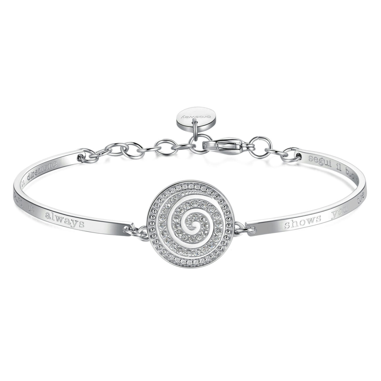 INFINITY SPIRAL: INFINITY, INSTINCT, AND HAPPINESS ENGRAVING: Follow your heart, it always shows you the right direction (front) – Segui il tuo cuore, sarà sempre lui a mostrarti la giusta direzione (back) Listen to your heart and let it take you in the right direction. You live every moment of your life to the full and only you know the true path to your happiness.316L stainless steel bracelet and Swarovski® crystal..