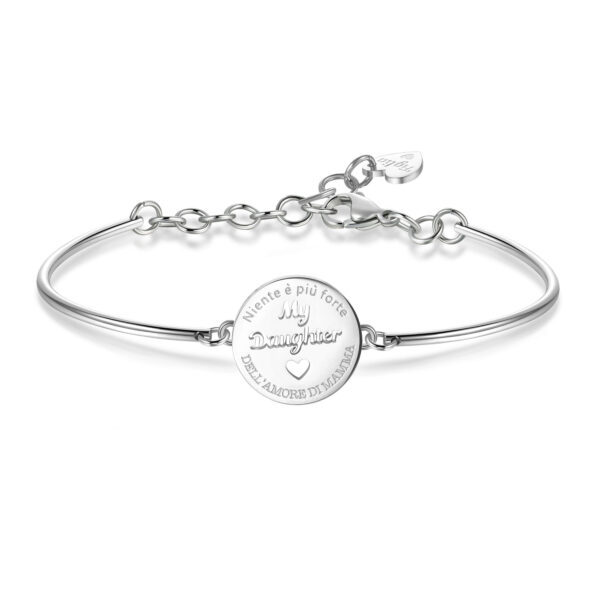 DAUGHTER: LIFE, STRENGTH, LOVEENGRAVED:Niente è più forte dell'amore di mamma (front) - Nothing is stronger than mother's love (back)To you who made my life so special, to you who will be always my little star,.. Remember that nothing is stronger than your mother's love.316L Stainless steel bracelet.