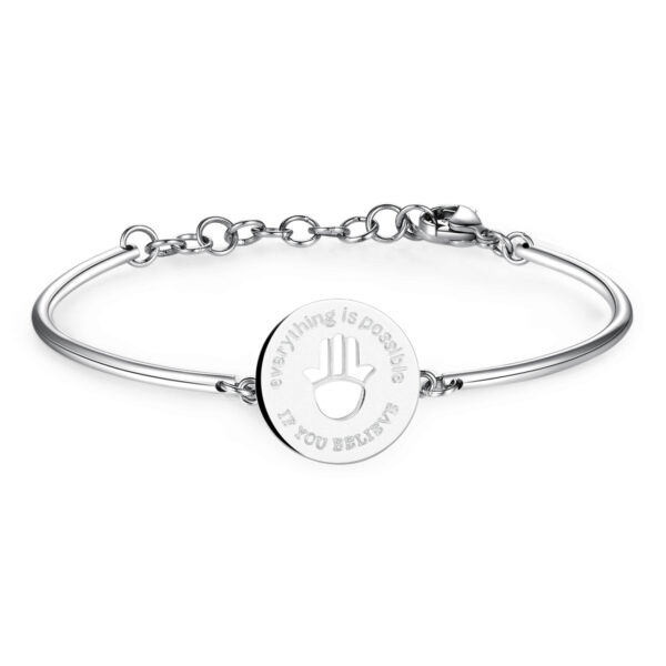 HAND OF FATIMA: FAITH, PROTECTION, FEMININITYENGRAVED:Everything is possible if you believeIts symbolism can be traced back to ancient rituals, bound to female deities and the cult of fertility, beauty and the fecundity of Mother Earth. A symbol of faith and protection, used to keep evil away.316L Stainless steel bracelet.